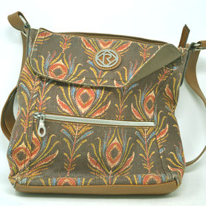 Relic Fabric Faux Leather Floral Printed Brown Bag
